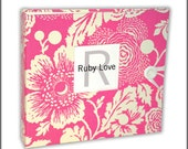BABY BOOK   Pink Floral Silhouette Album - Ruby Love Modern Baby Memory Book