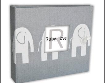 BABY BOOK | MOD Gray Elephants Album | Ruby Love Modern Baby Memory Book