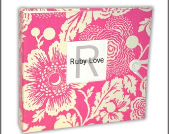 BABY BOOK | Pink Floral Silhouette Album - Ruby Love Modern Baby Memory Book