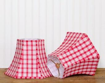 Red Plaid Lamp Shade - Lampshade - Bell Lamp Shade - Cottage Lamp Shade - Vintage French Lamp Shade - Lampshade - Childrens Lampshade