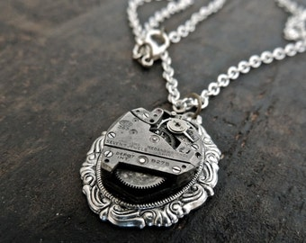 Silver Steampunk Necklace // watch movement necklace