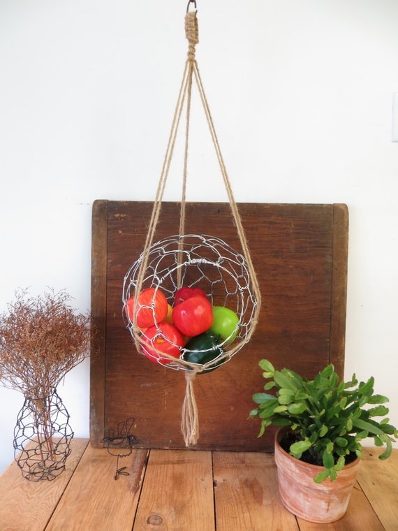 Large Wire Hanging Basket With Macrame Hanger In Distressed