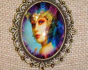 "Fantasy Fairy Art Bubble Cameo With Glitter Necklace  24"" Chain By Caroline Erbsland"