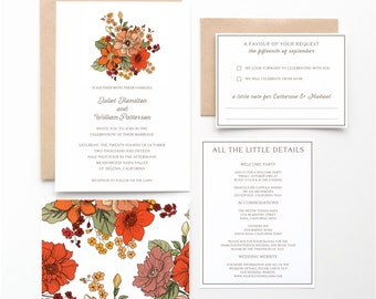 Rustic Floral Wedding Invitation Collection, Orange, Red and Brown, Botanical Invitation, Wedding Announcement