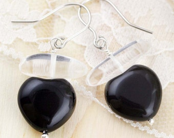 Purifying and rejuvenate earrings - quartz and onyx