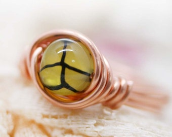 Yin yang  - Dragon vein agate wrapped ring (SR)