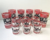 Horse and Carriage Bar Glasses, Set of Twelve
