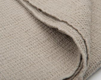 Grey Pure Linen Bath Towel in Waffle weave. Natural flax towel, softened prewashed durable. 100% linen bath towel