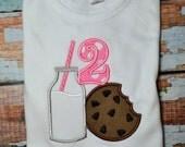 Cookies and Milk Birthday Shirt, Girls Birthday Shirt, Milk and Cookies Shirt, Cookie Shirt, Embroidered Birthday Shirt