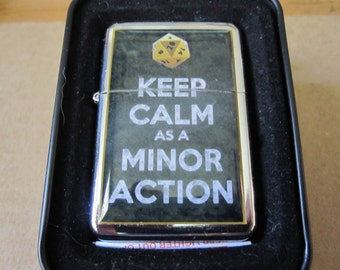 Keep Calm as A Minor Action D20 Dungeons and Dragons Dice Lighter