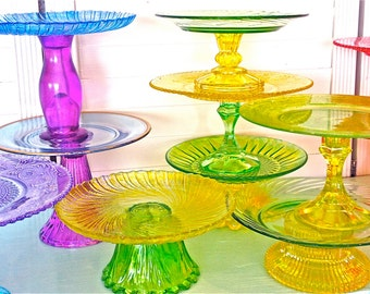 Cake stands-cake stand- 8 inch glass cupcake stand-colorful cupcake stands-wedding cake pedestals-cake pedestals-cupcake stands