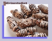 1 Ancient Artefact, primitive, tribal,  ethnic, rustic, faux bone, stringing bead, supplies, polymer, unisex,