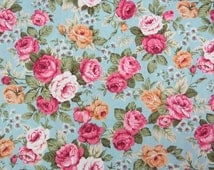 2601B -- Rose Floral Fabric in Blue , Blue Rose Fabric , Flower Fabric