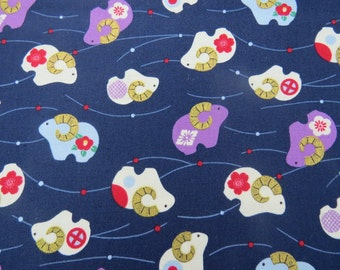 2559B - Sheep with Gold Horn Print Fabric in Navy, Japanese Cotton Fabric, Kimono Fabric, Zodiac Sheep Fabric, Animal Fabric