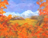 ACEO Snow Capped Mountains Fall Landscape Original Miniature Acrylic Collectible Painting Blue Skies Clouds by Pat Adams OOAK