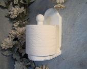 White wood vertical toilet paper holder