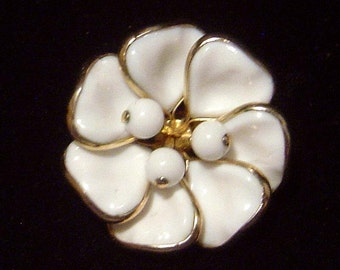 Vintage white molded milk glass Flower Brooch pin