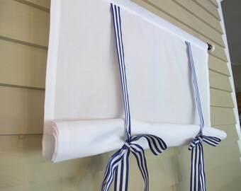 White 60 Inch Long Cotton Stage Coach Blind Tie Up Curtain Swedish Roll Up Shade Royal Blue Gross Grain Ribbon Ties