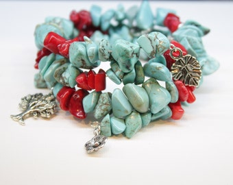 Gypsy Memory Wire Bracelet, turquoise and red coral with Earthy thyme flower tree and leaf charms Boho Artisan