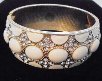 Wide White Enamel Clear Rhinestone Hinged Bracelet Clamper