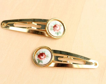 Vintage Guilloche Rose Hair Clips