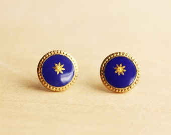 Blue and Gold Star Dot Studs