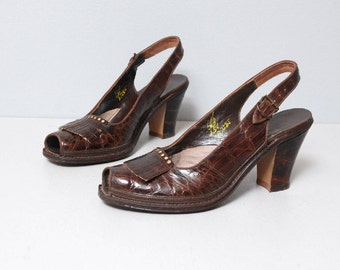 1940s Heels - Brown Alligator Peep Toe 40s Heels - Size 6