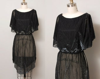 1970s Tunic Dress - Black Sparkle Sheer 70s Tunic Top