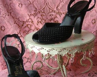 1940's Black Ankle Strap Heels, Sz 4.5