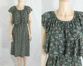 Vintage 70s Gypsy Disco Dress Tiered Layered Ruffle Bodice Dress Floral Print - Small to Medium