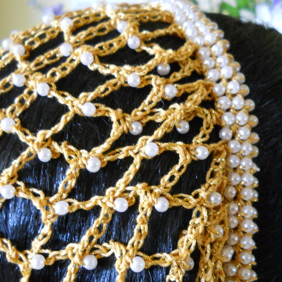 Beaded Snood Hair Net The Lucrezia In Gold With Pearls