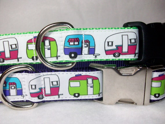 Camper or RV Dog Collar in Size Med, L, XL, Side Release Buckle Style