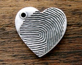 Sterling Silver Heart Pendant with Finger Print Name & Date Engraving with Matte Oxidized Finish