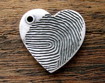 Heart Pendant with Finger Print Pattern Name & Date Engraving in Sterling Silver with Matte Oxidized Finish