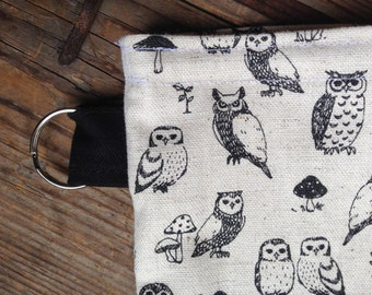 Organic linen cotton black owl Snack, Passport, Make up, baby pouch bag, purse, Finland