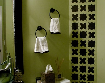 25 Black Quatrefoil Fabric Decals, Eco-Freindly Matte Removable and Reusable Wall Stickers