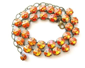 Love On Fire- Swarovski  Crystal Rivoli Rhinestone Necklace, Anna Wintour Inspired, 11 mm Big Stones Necklace Layering Necklace, Gift Ideas