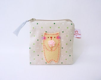 Cat Pouch, Pouch, Change Pouch, Credit Card Pouch, Cat Coin Purse, Fabric Wallet, Cotton Pouch, Cat Purse - Mothers Day Gift