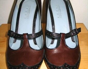 Lambertson Truex Brown Black Leather Stiletto Pumps Size 38.5 8B