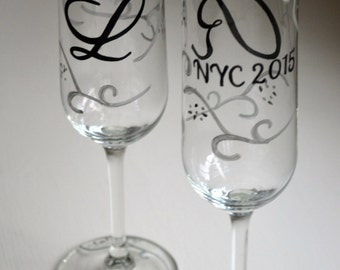 Groom Initial Phrase and Date Black and Silver Custom Elegant Decorative Celebration Party Favor Wine Champagne Bridesmaid Wedding Glasses
