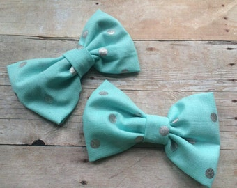 Cinderella Inspired Light Blue and Silver Fabric Hair Bow, Girls Hairbow, Bow Tie