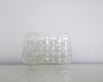 CLEAR the TABLE. Vintage Clear Plastic Woven Napkin Holder - Hollywood Regency - Mid Century Modern - Retro