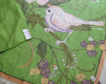 Vintage Silk Scarf With Bird and Flowers Green, Peach, Purple Thailand Sheer Large