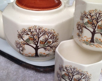 Vintage OWL Teapot And 6 Tea Cups Teaset Owls in Tree