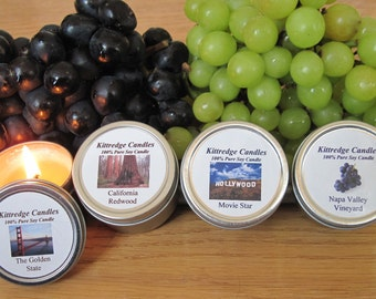 CALIFORNIA  SAMPLER (four 2-oz soy candles)