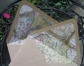 RESERVED FOR ASHLEY - Lined Envelopes - World Map (Set of 10)