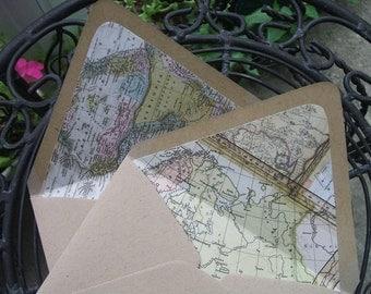 Lined Envelopes - World Map (Set of 10)