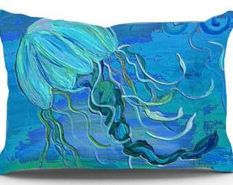 Jellyfish beach pillow sham from my art