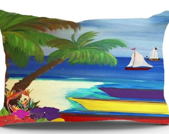 Boats docked nautical boat pillow sham from my art