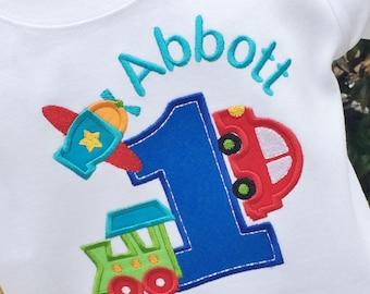 Boys Planes, Trains and  Automobile Birthday Shirt